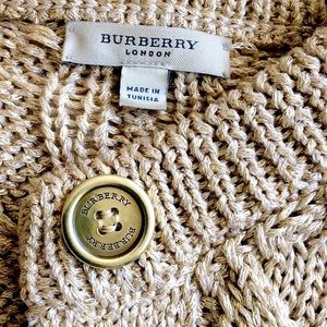 Burberry Sweaters - BURBERRY Gold Cable Knit Cardigan Sweater